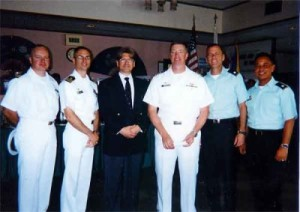 Alfred Goolsbee (3rd from viewer's left / suit andtie) together with the Admiralty and High Command of US Military Forces in Naha, Okinawa, JAPAN (where he developed the technology) at the Seaman's Club. Mr Goolsbee was introducing his earth-saving technology to the gentlemen, which was discovered and first developed in Japan.